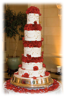 Tall and red cake
